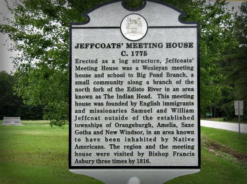 Jeffcoats' Meeting House Marker image. Click for full size.
