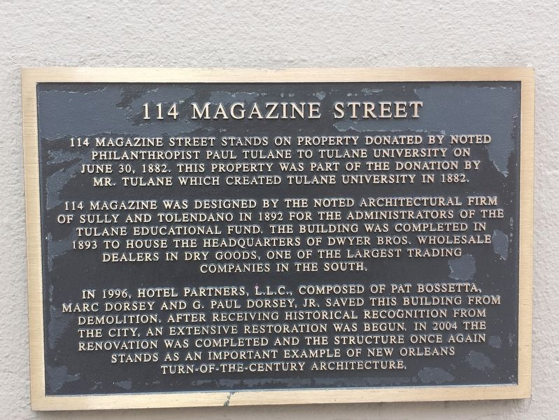 114 Magazine Street Marker image. Click for full size.