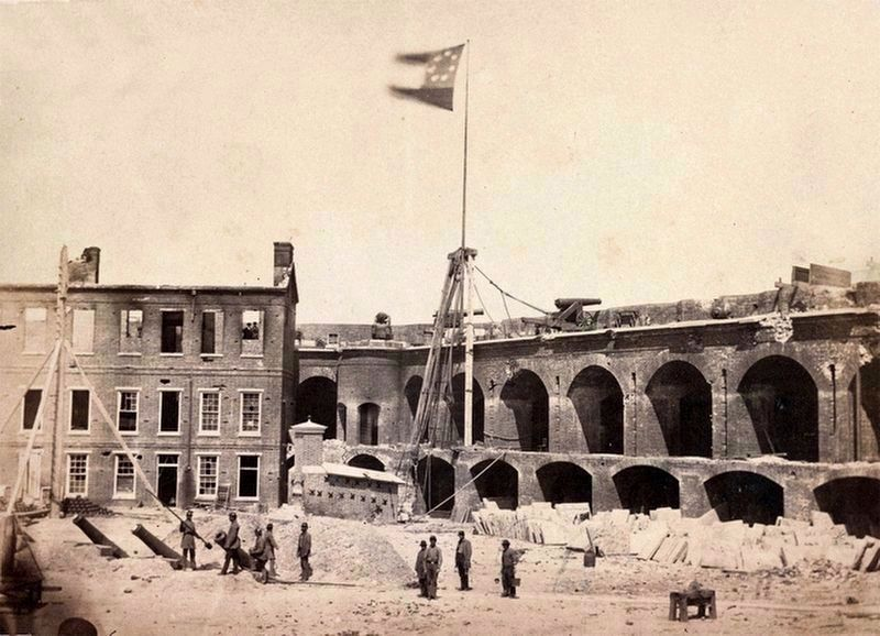 Inside Fort Sumter in 1861, Flying the Confederate Flag image. Click for full size.