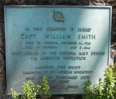 In This Cemetery is Buried Capt. William Smith Marker image. Click for full size.