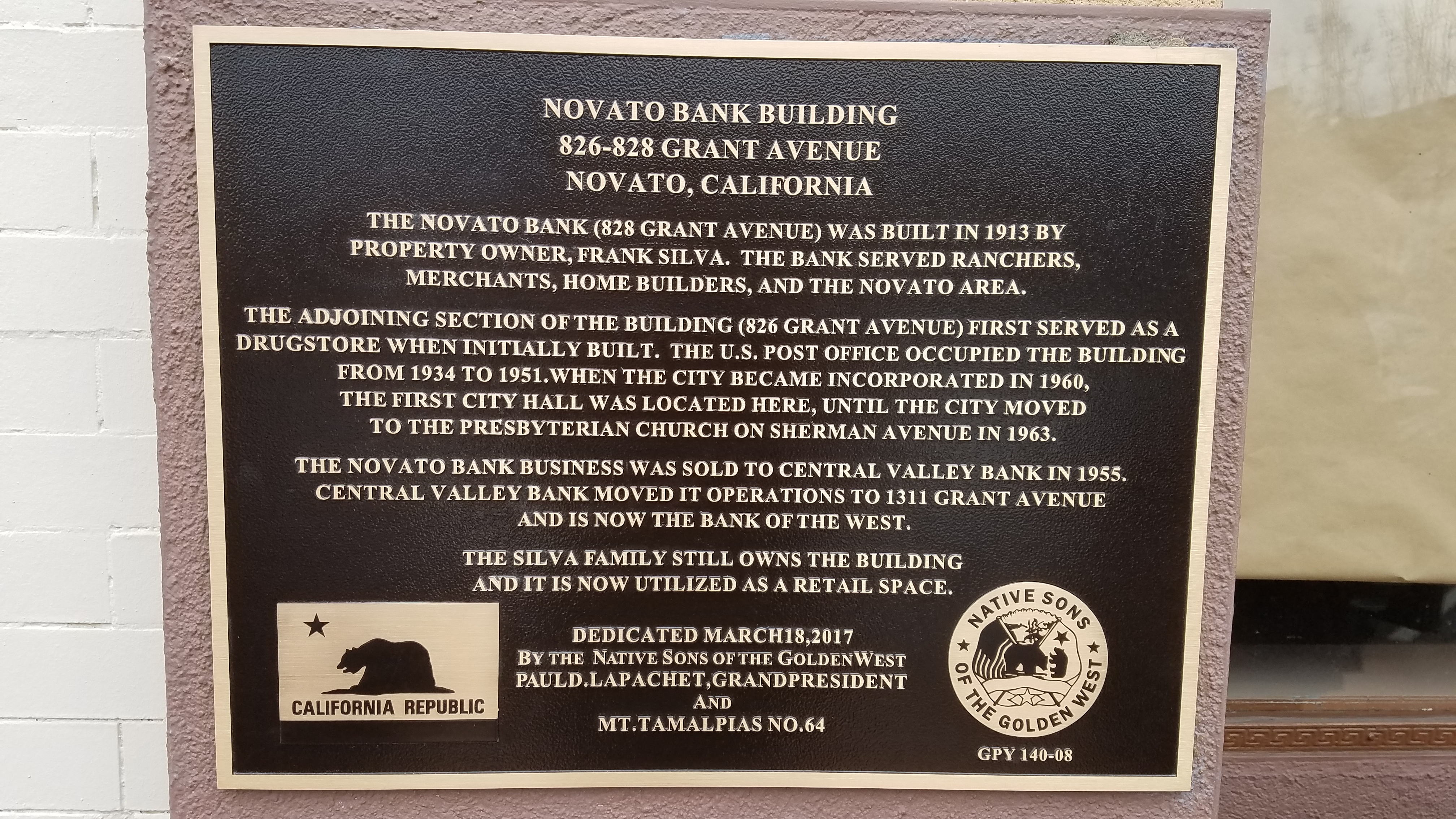 Novato Bank Building Marker