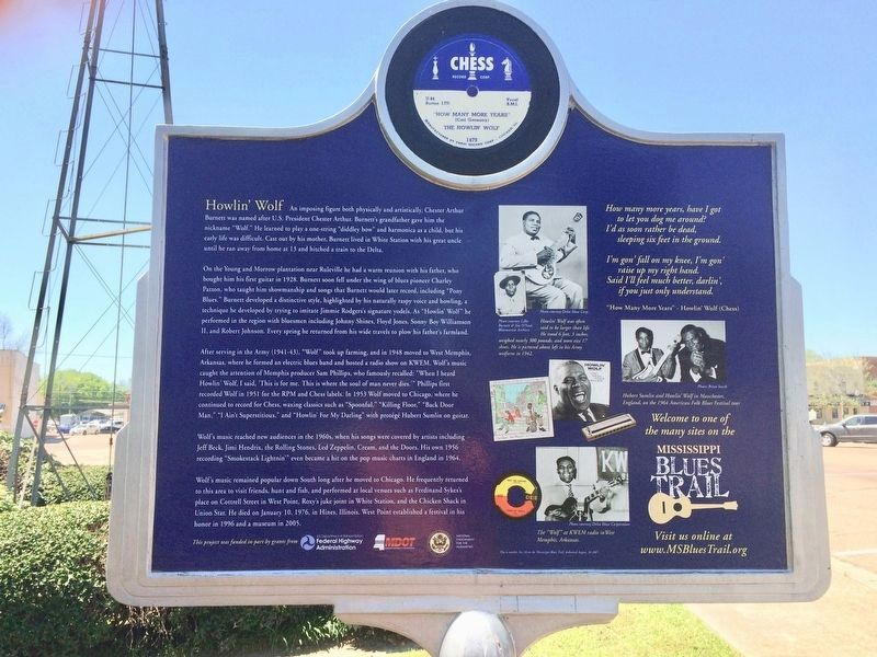 Howlin' Wolf Marker (Rear of marker) image. Click for full size.