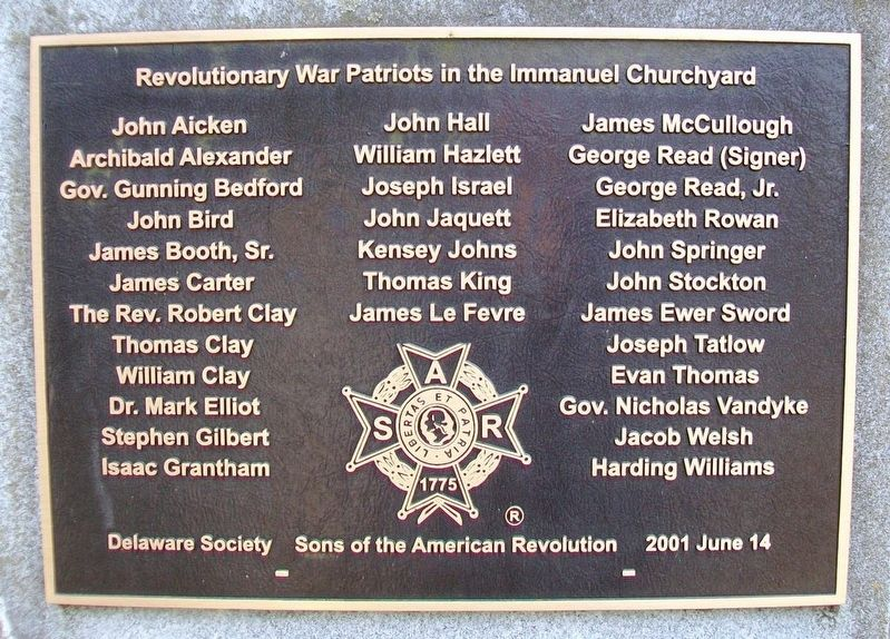 Revolutionary War Patriots in the Immanuel Churchyard Marker image. Click for full size.
