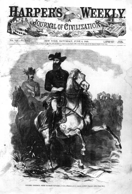 Colonel Benjamin Grierson leading his 6th Illinois Cavalry. image. Click for full size.