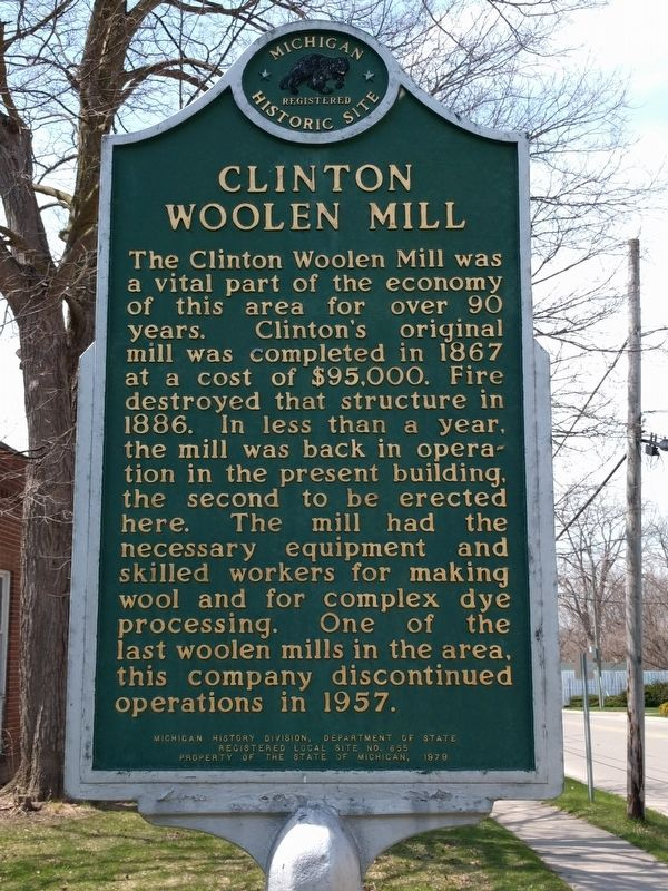 Clinton Woolen Mill Marker image. Click for full size.