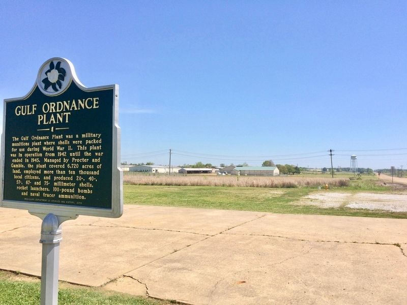 View from marker of location of WWII era and more recent industrial buildings. image. Click for full size.