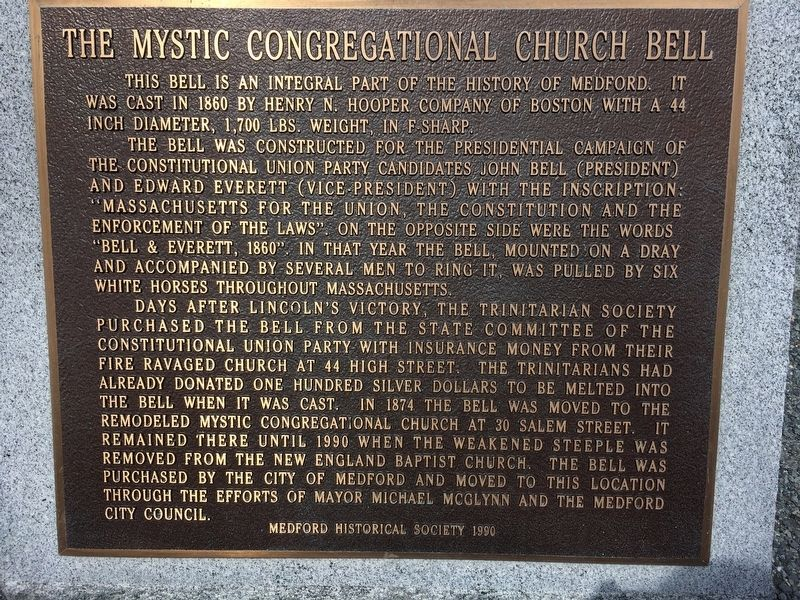 Mystic Congregational Church Bell Marker image. Click for full size.