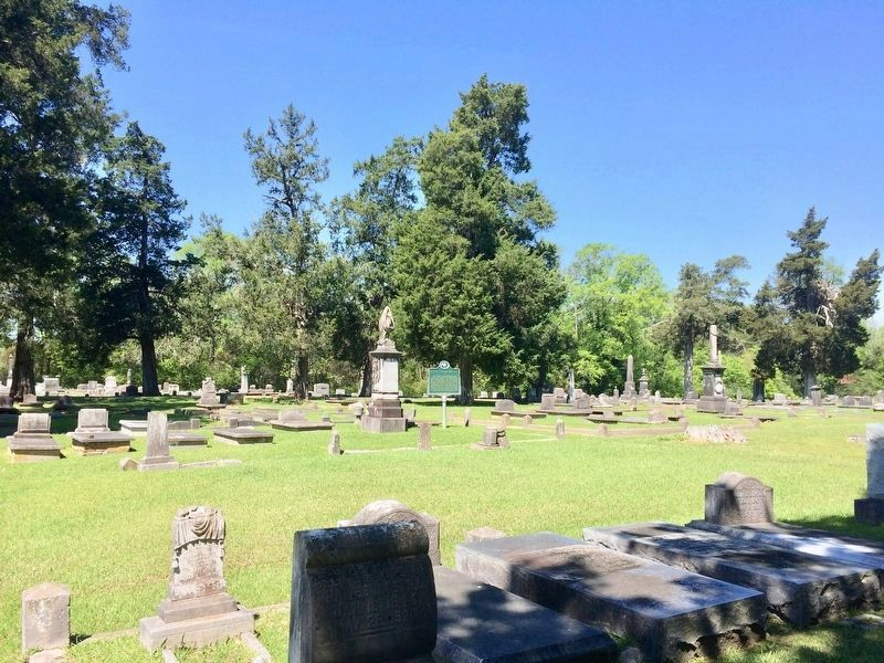 Wide view of marker and graves in the cemetery. image. Click for full size.