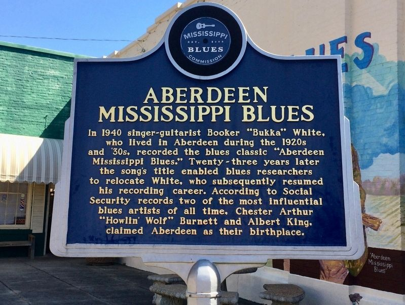 Aberdeen Mississippi Blues Marker (Front) image. Click for full size.