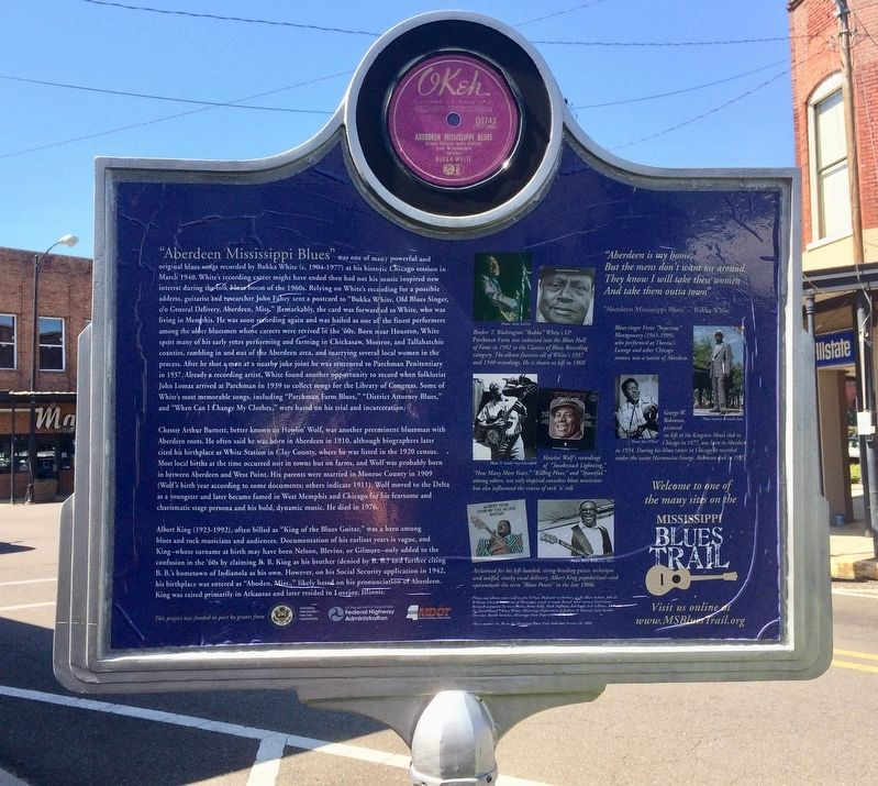 Aberdeen Mississippi Blues Marker (Rear) image. Click for full size.