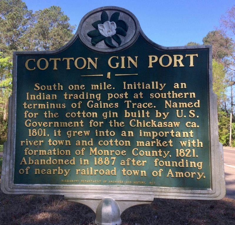 Cotton Gin Port Marker image. Click for full size.