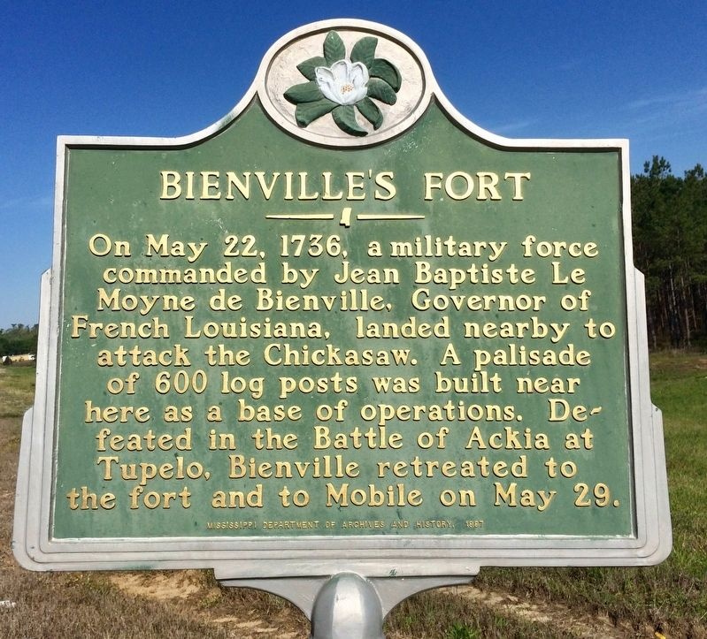 Bienville's Fort Marker image. Click for full size.
