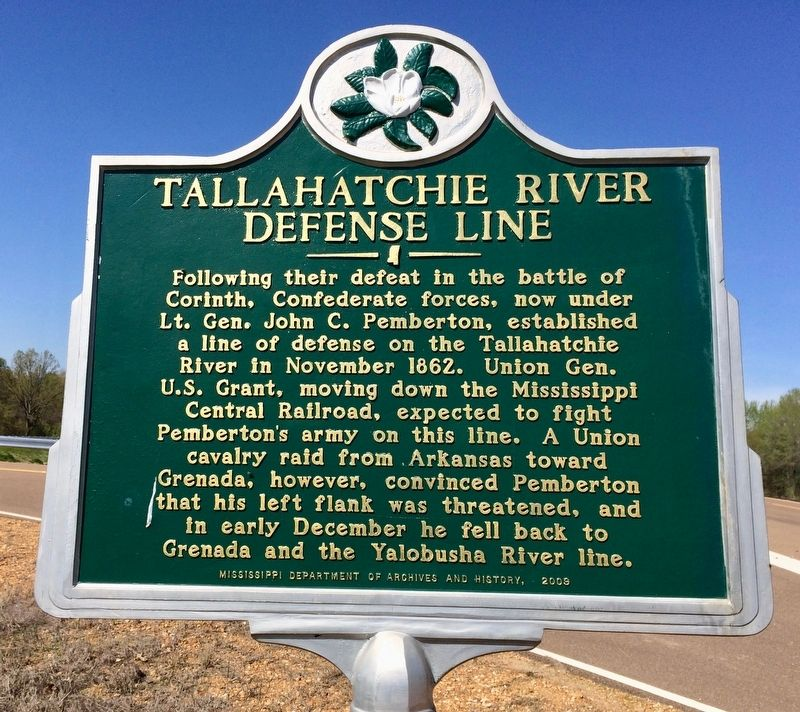Tallahatchie River Defense Line Marker image. Click for full size.