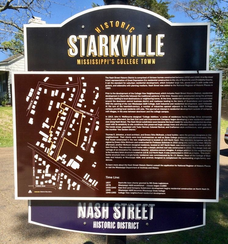 Another Nash Street Historic District Marker. image. Click for full size.