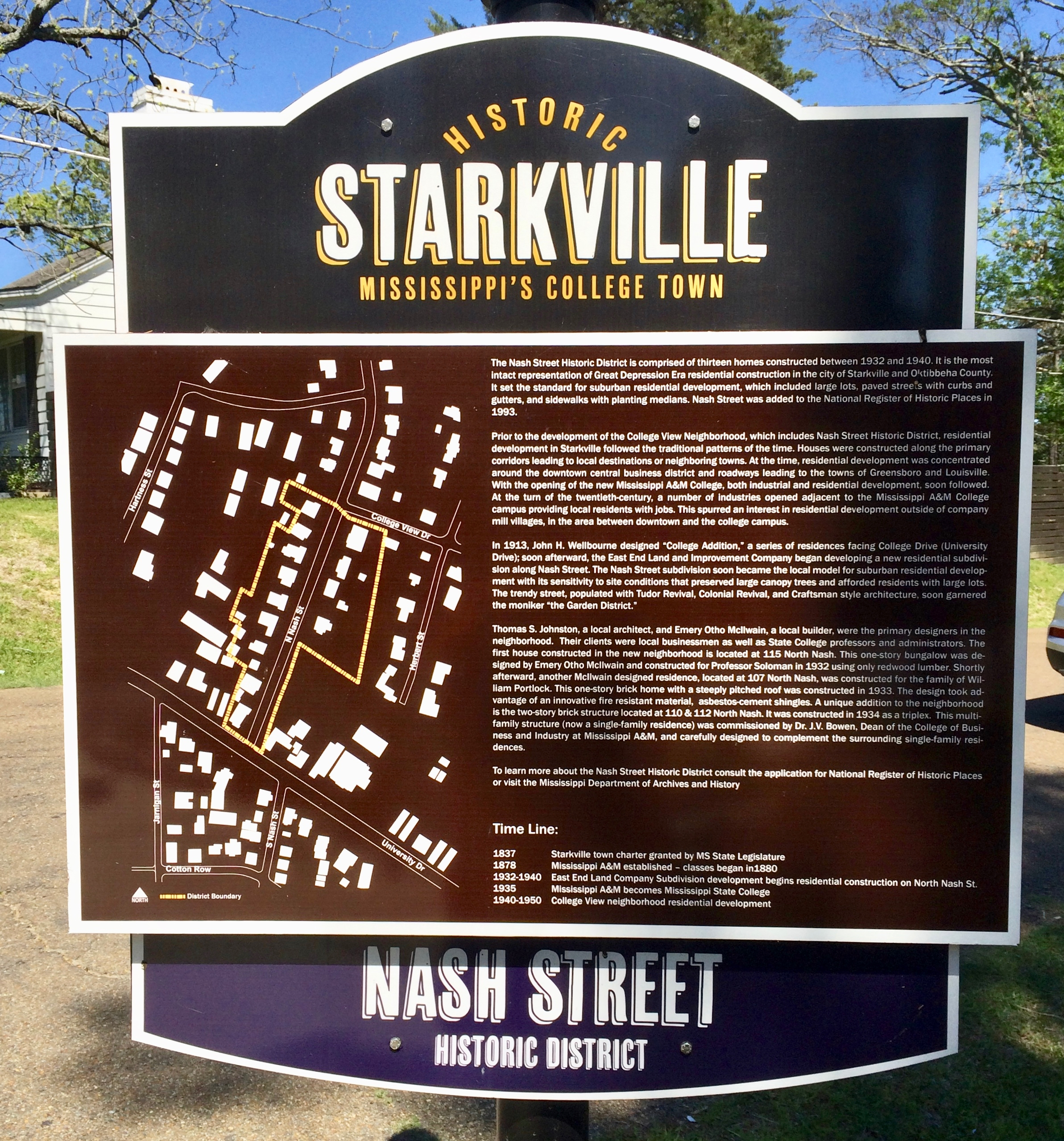 Another Nash Street Historic District Marker.