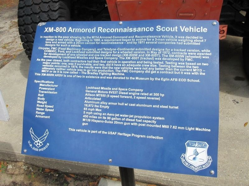 XM-800 Armored Reconnaisance Scout Vehicle Marker image. Click for full size.