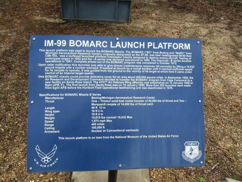 IM-99 BOMARC Launch Platform Marker image. Click for full size.