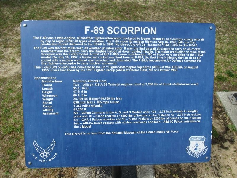 F-89 Scorpion Marker image. Click for full size.