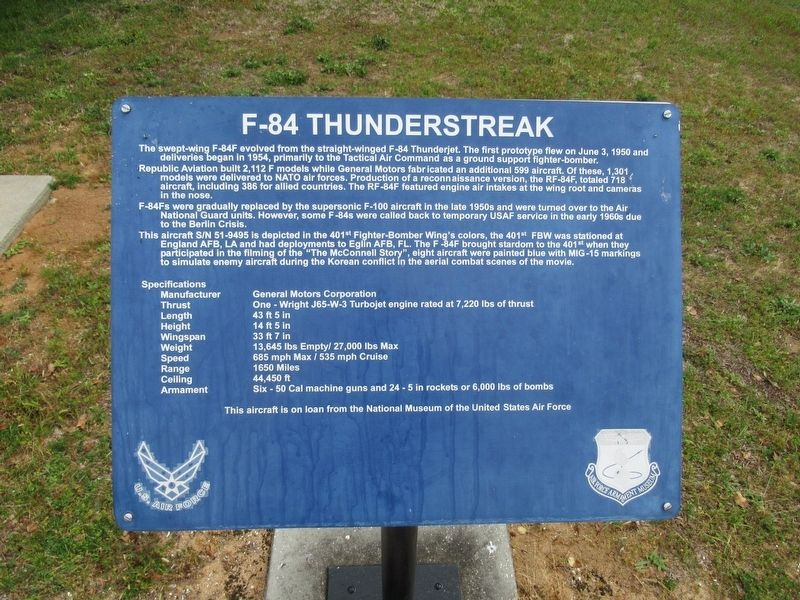 F-84 Thunderstreak Marker image. Click for full size.