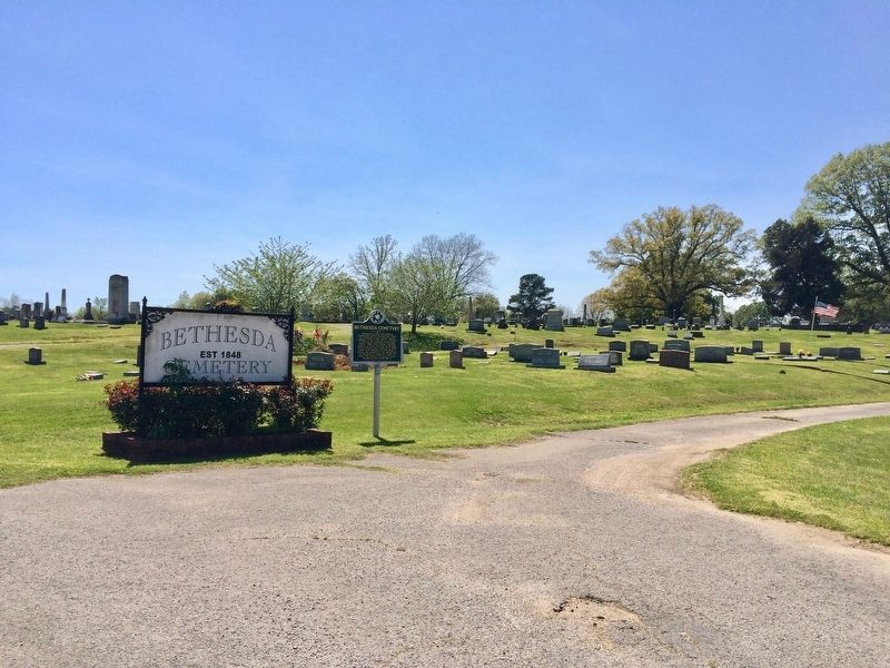 Bethesda Cemetery and the marker. image. Click for full size.