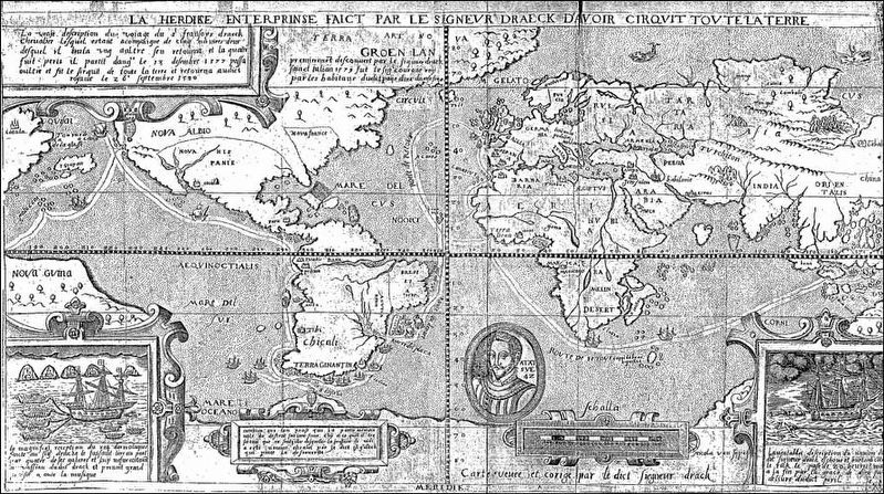 Map of Sir Francis Drake's Circumnavigation of the Globe 1577-1580 image. Click for full size.