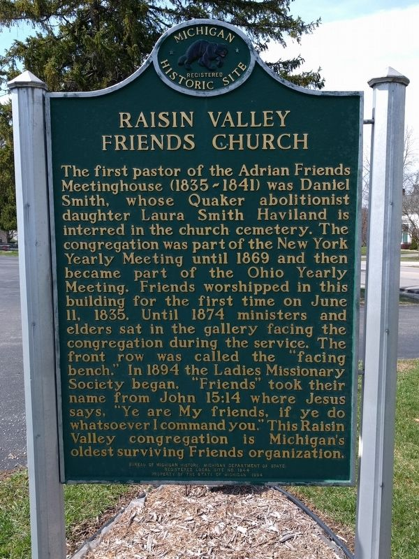 Adrian Monthly Meetinghouse / Raisin Valley Friends Church Marker image. Click for full size.