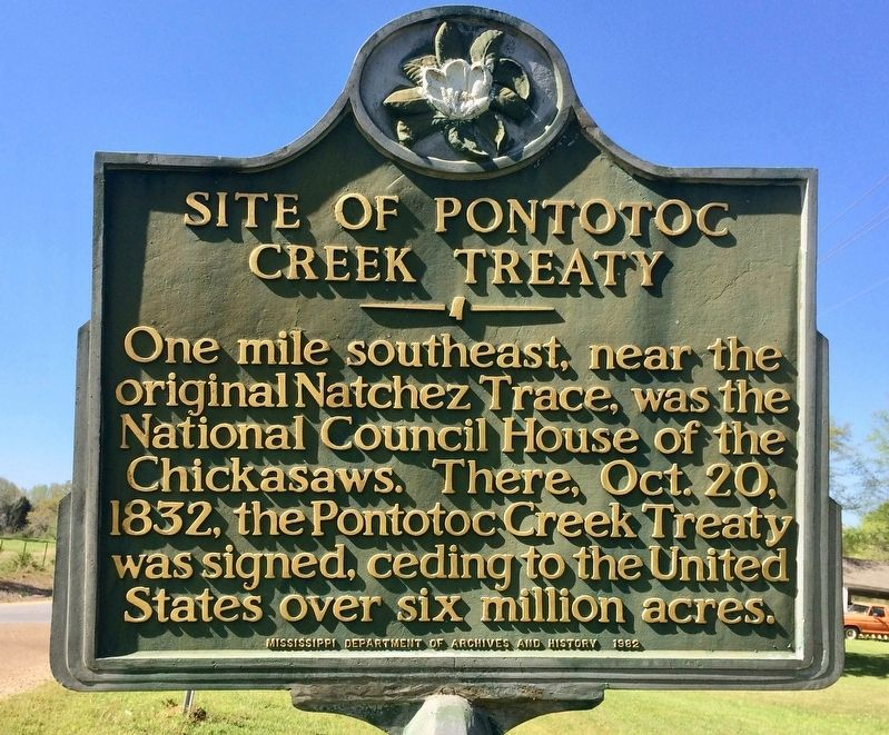 Site of Pontotoc Creek Treaty Marker image. Click for full size.