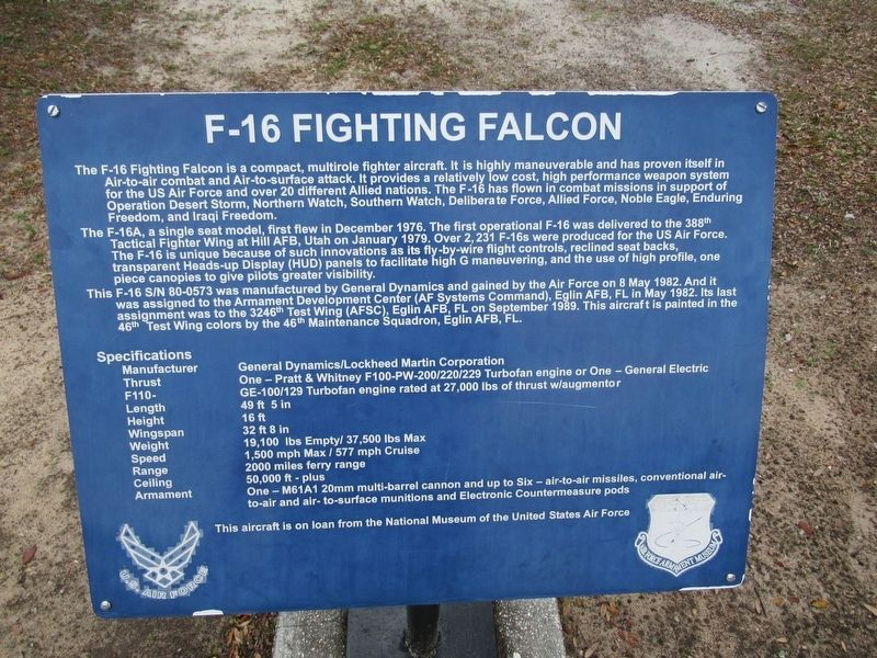 F-16 Fighting Falcon Marker image. Click for full size.