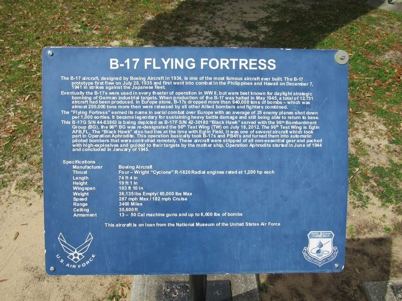 B-17 Flying Fortress Marker image. Click for full size.