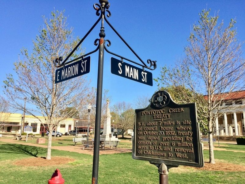 Pontotoc Creek Treaty Marker in the Town Square. image. Click for full size.