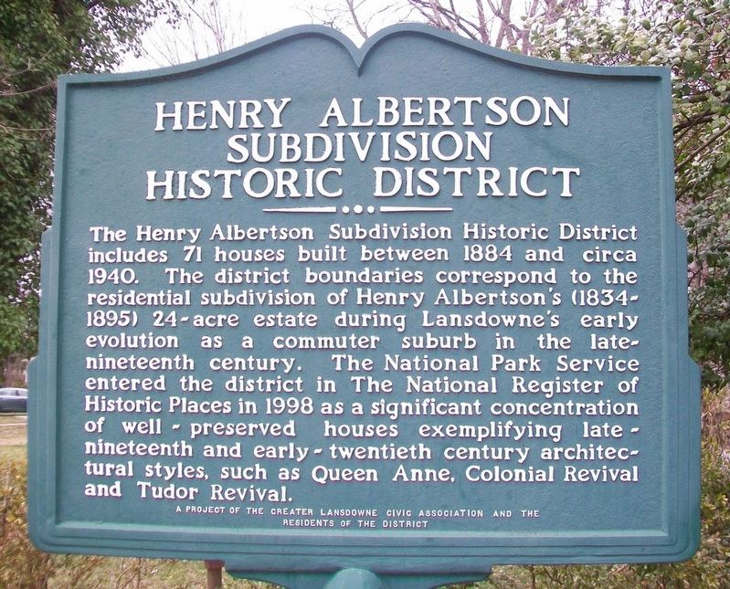 Henry Albertson Subdivision Historic District Marker image. Click for full size.
