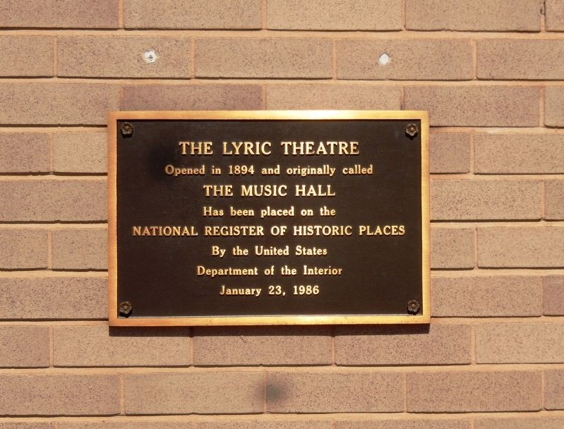 The Lyric Theatre Marker image. Click for full size.