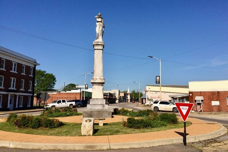 Nearby Confederate monument (marker to left of white SUV). image. Click for full size.