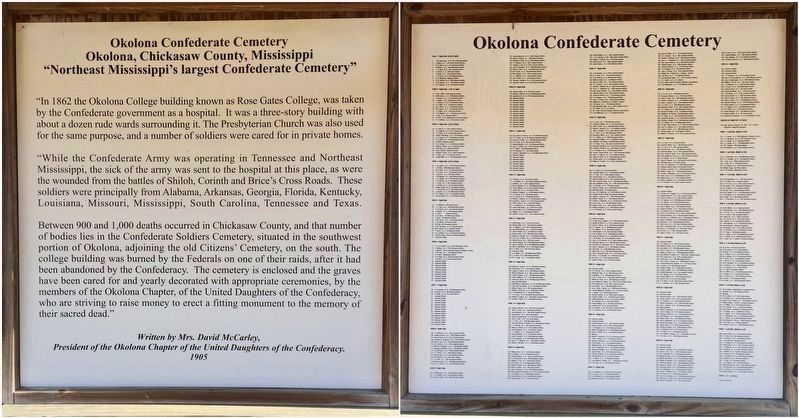 Confederate Cemetery posters, located in the cemetery, including listings of burials. image. Click for full size.