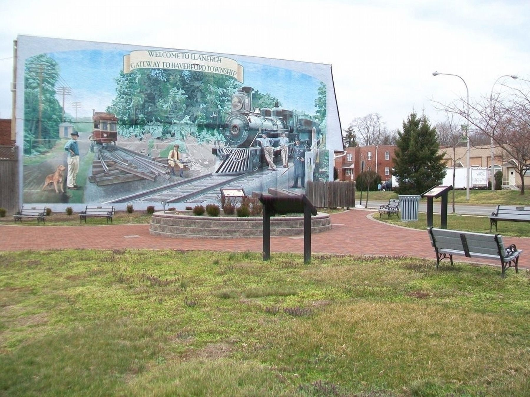 Llanerch Crossing Park, Markers, and Mural image. Click for full size.