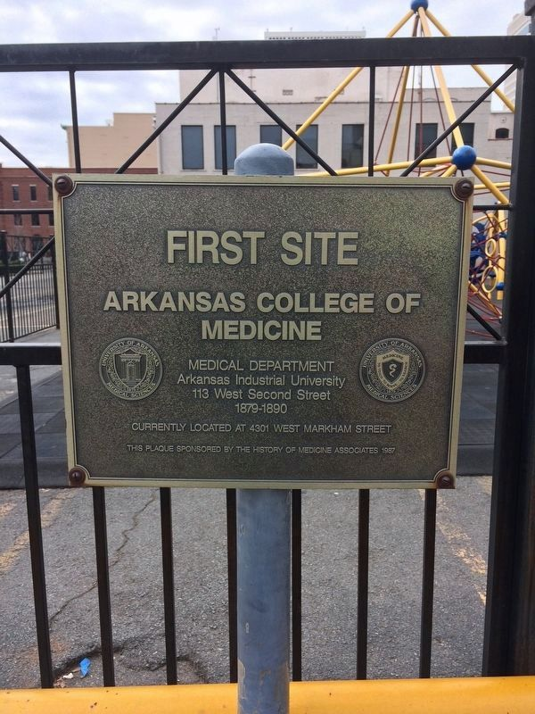 First Site: Arkansas College of Medicine Marker image. Click for full size.