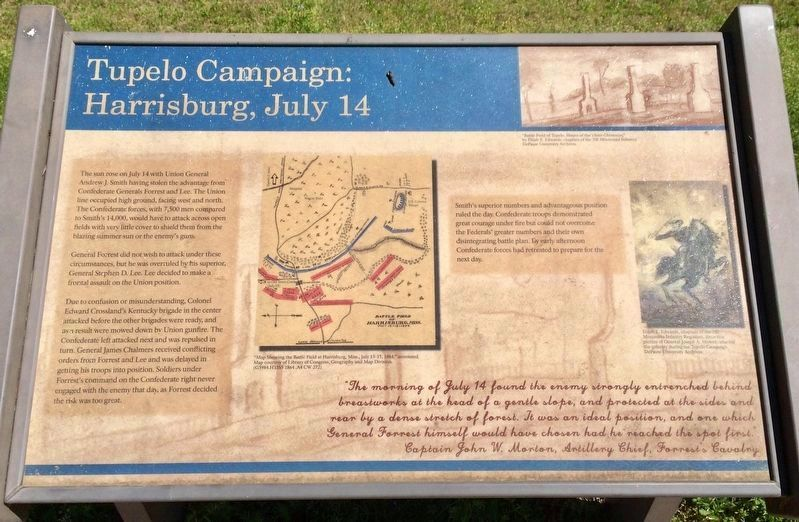 Tupelo Campaign: Harrisburg July 14 Marker image. Click for full size.