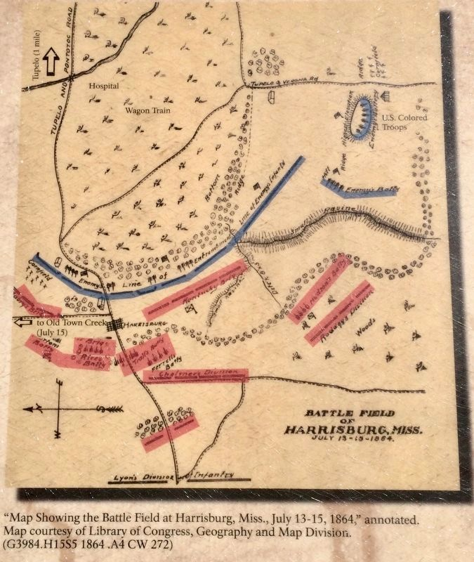 Map of Battle Field at Harrisburg, MS July 13-15, 1864. image. Click for full size.