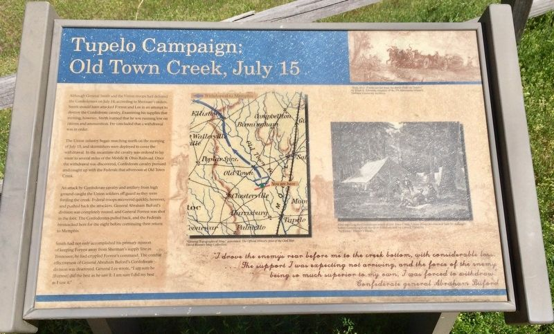 Tupelo Campaign: Old Town Creek, July 15 Marker image. Click for full size.