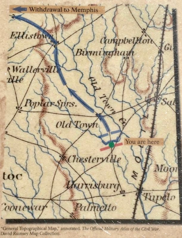 Tupelo Campaign: Map showing route of 'retreating' Union troops. image. Click for full size.