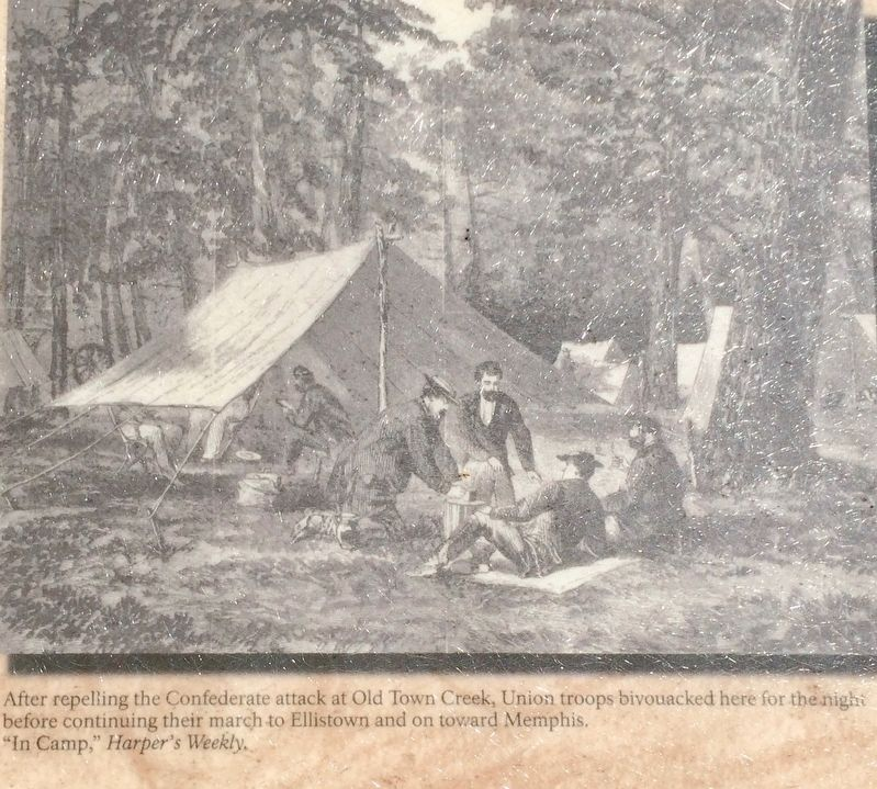 Tupelo Campaign: Union troops resting on way out of area. image. Click for full size.