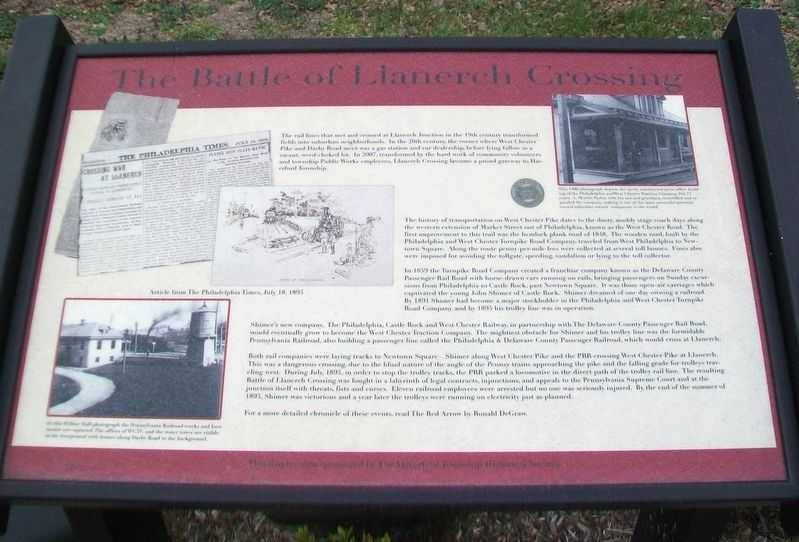 The Battle of Llanerch Crossing Marker image. Click for full size.