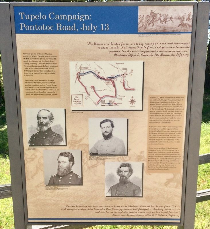Tupelo Campaign: Pontotoc Road, July 13 Marker image. Click for full size.