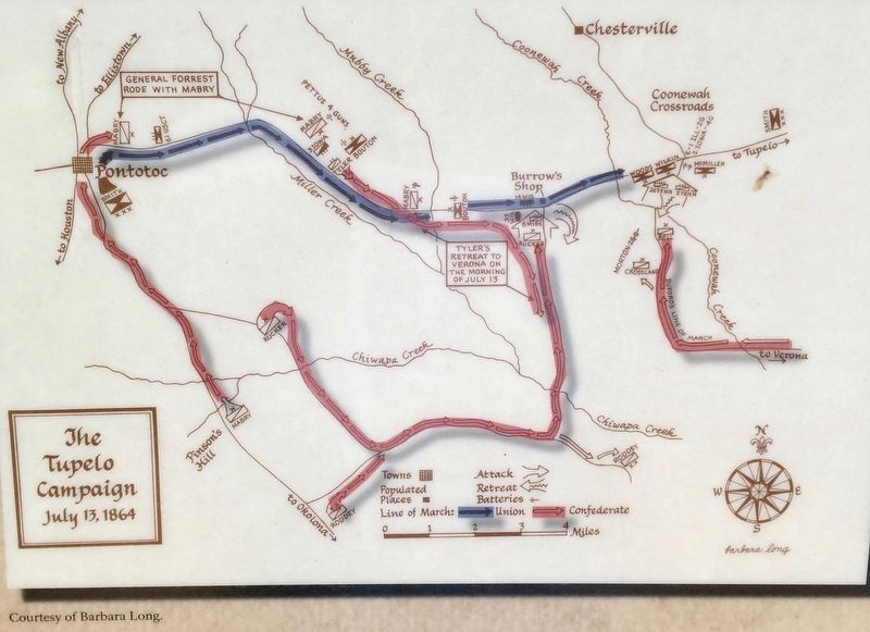 Map of the Tupelo Campaign - July 13, 1864 image. Click for full size.