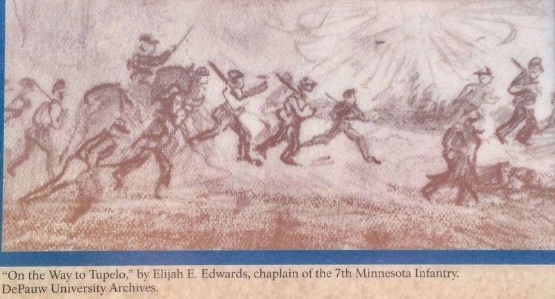 Tupelo Campaign: Pontotoc Road - Union troops on the way. image. Click for full size.