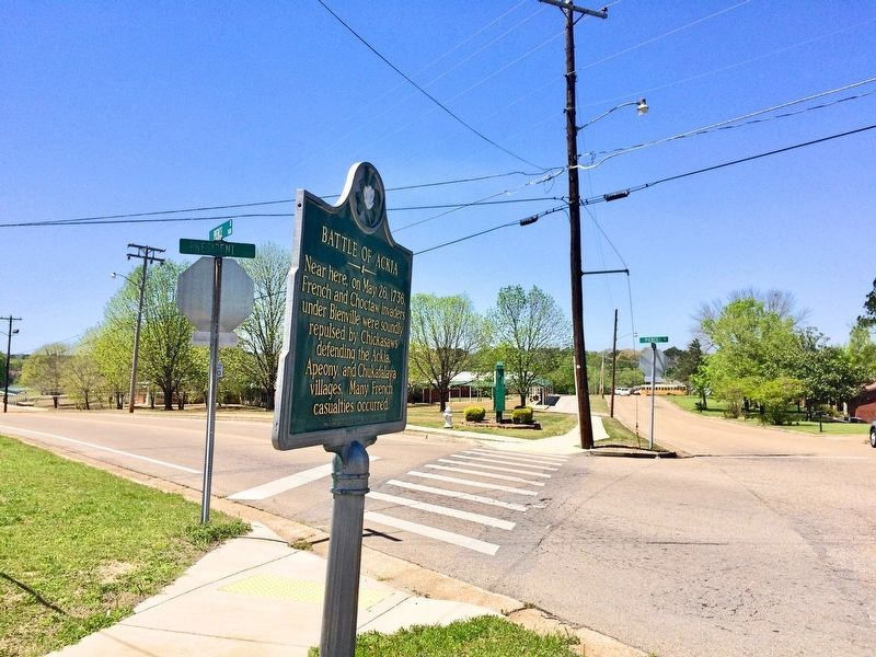 Battle of Ackia Marker at intersection of President Avenue & Pierce Street. image. Click for full size.