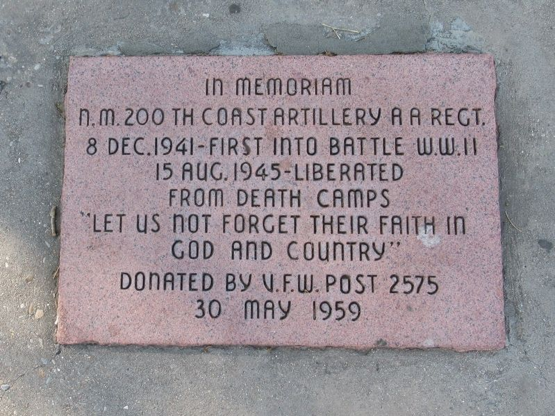 N.M. 200th Coast Artillery AA Regt. Marker image. Click for full size.