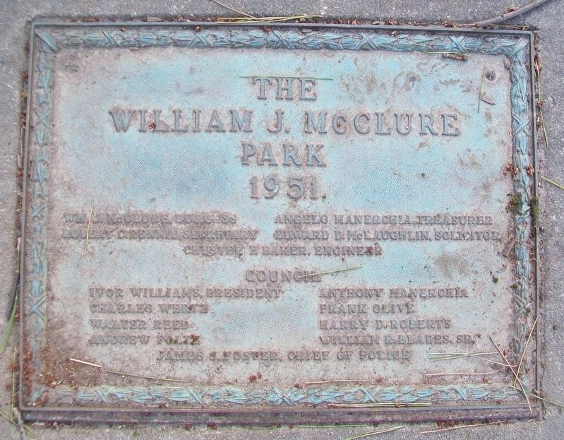 William J. McClure Park Marker image. Click for full size.