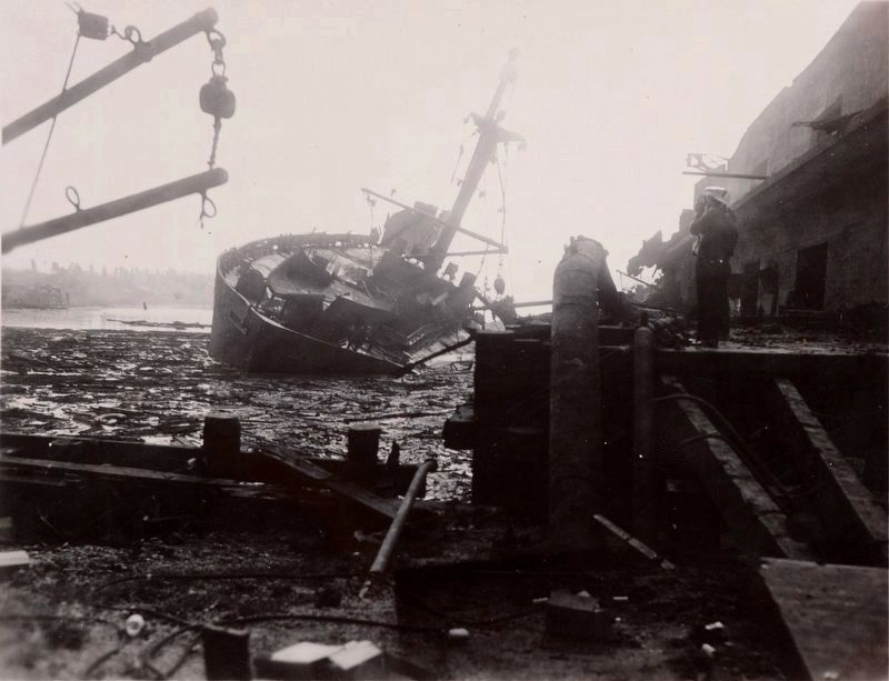 One of the destroyed ships three days after the explosion image. Click for full size.
