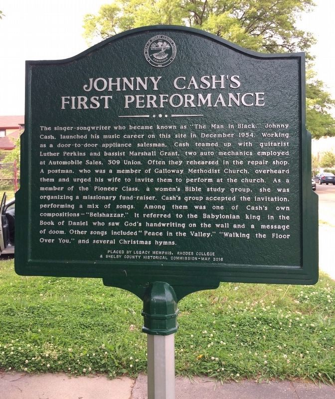 Johnny Cash's First Performance Marker image. Click for full size.